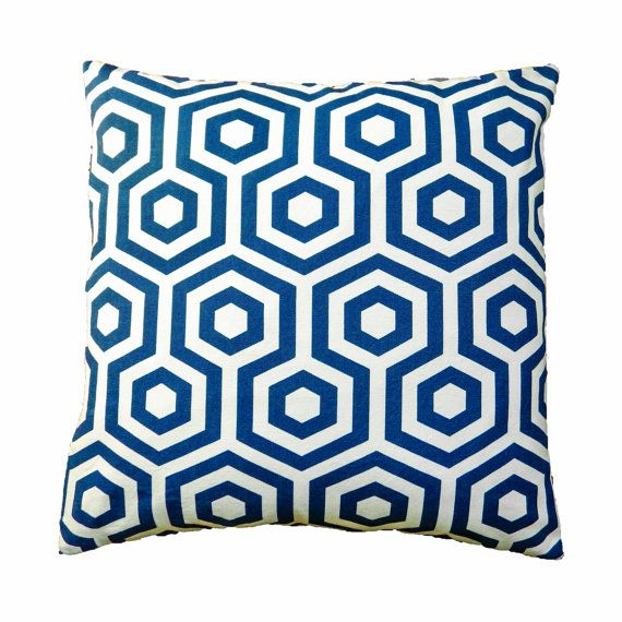 Blue Cushions, Scandinavian Cushion Cover, Honeycomb Pillow Cover, Blue Throw Pillows, Decorative Throw Pillow Cover, Hexagon Print Cushion