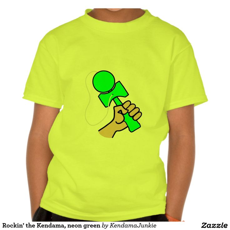 Rockin' the Kendama, neon green T-shirt