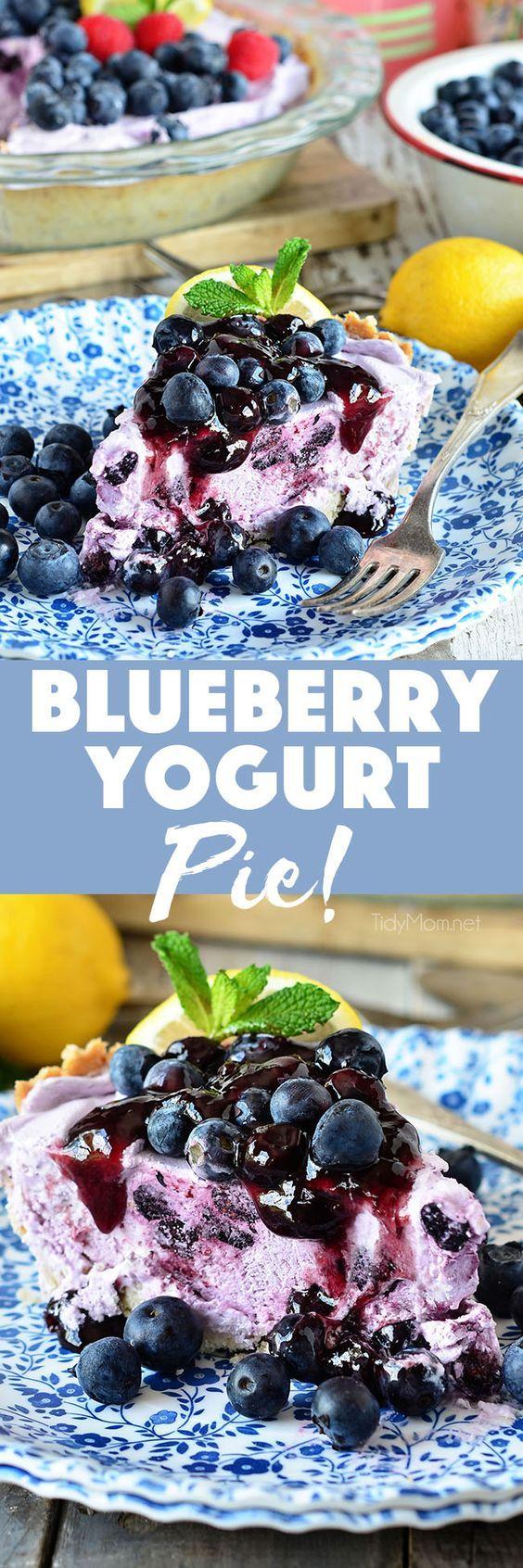 Yogurt pie, Blueberry fruit and Shortbread crust on Pinterest