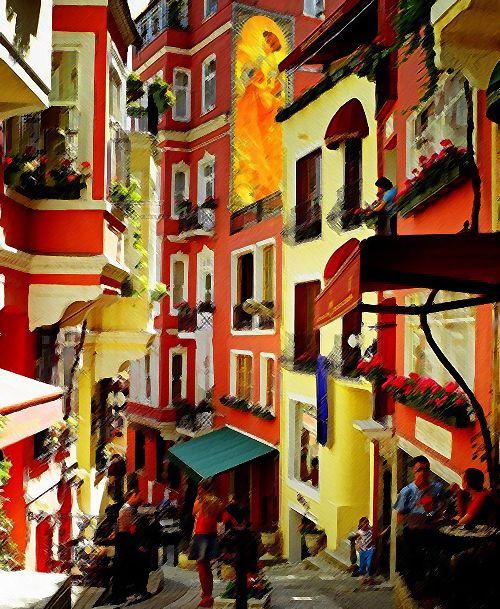 Fotoğraf, Beyoğlu'nun küçük Paris'ine yani Fransız Sokağı'na ait. 1900'lerin başında Fransız mimarisinden esinlenerek yapıldı. Hal böyleyken Fransız şarapları eşliğinde şansonları dinlemek... Üstelik Jaques Brel söylüyor! Akabinde bir tatlı huzur ve hafif baş dönmesi... Bizde ki anlatım bu şekilde:) Herkesin bir hikayesi vardır; hadi sizde kendi bildiğiniz dilden anlatın hikayenizi:)   The photo belongs to the small Paris of Beyoglu, the French Street. Built at the beginning of the 1900's…