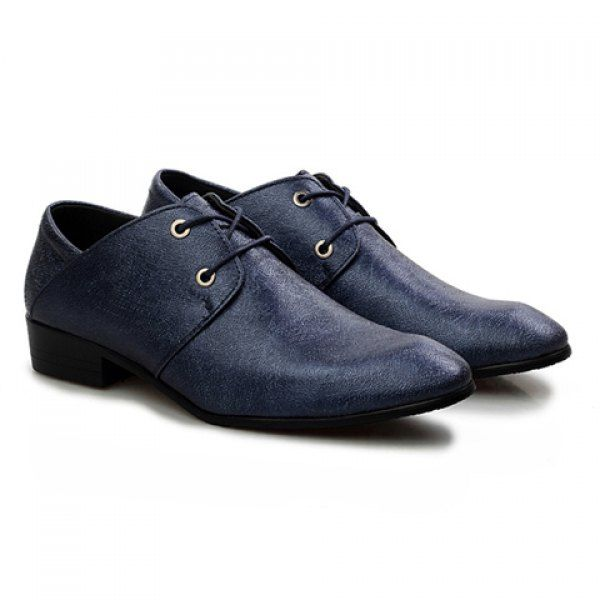Fashionable Solid Color and PU Leather Design Formal Shoes For Men, DEEP BLUE, 42 in Men's Shoes | DressLily.com