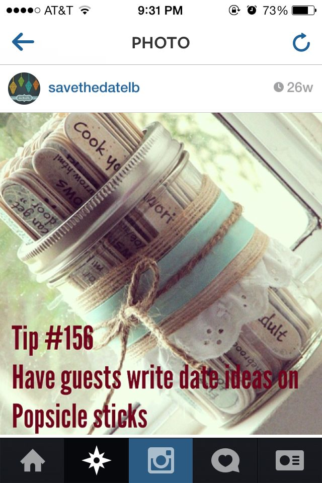 Engagement party idea: Guests write date ideas