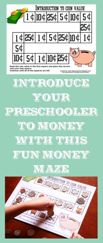 See Jamie Teach Homeschool: Indroduction to Coin Value - Free Printable. Introduce your preschooler to money