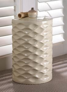 "#10016150 Ivory Faceted Ceramic Stool 17.75"" Tall by sensationaldecorandmore"