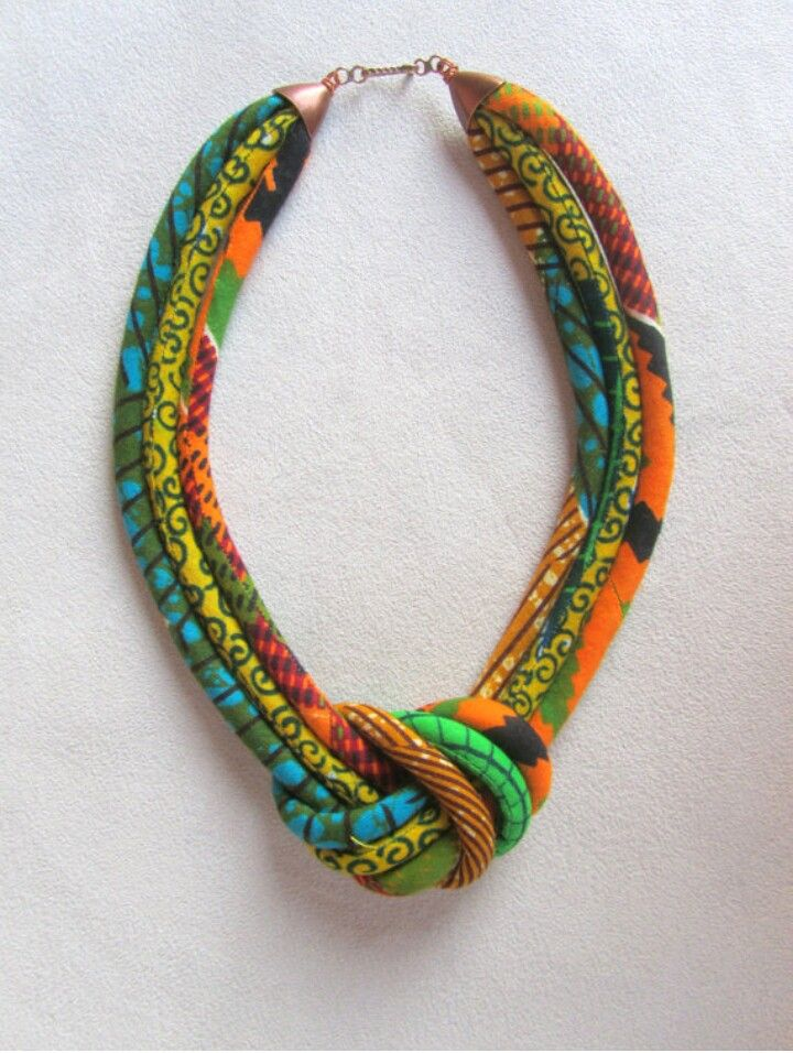 African fabric necklace. Zaza Sunflower: 'It could be made with spool knitted tubes'