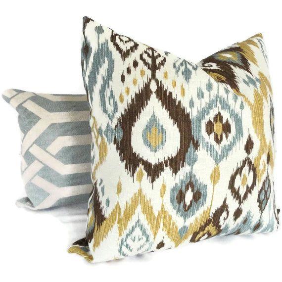 Brown, Gold And Blue Ikat Decorative LUMBAR Pillow Cover, Accent Pillow,  Throw Pillows, Pillow Sham