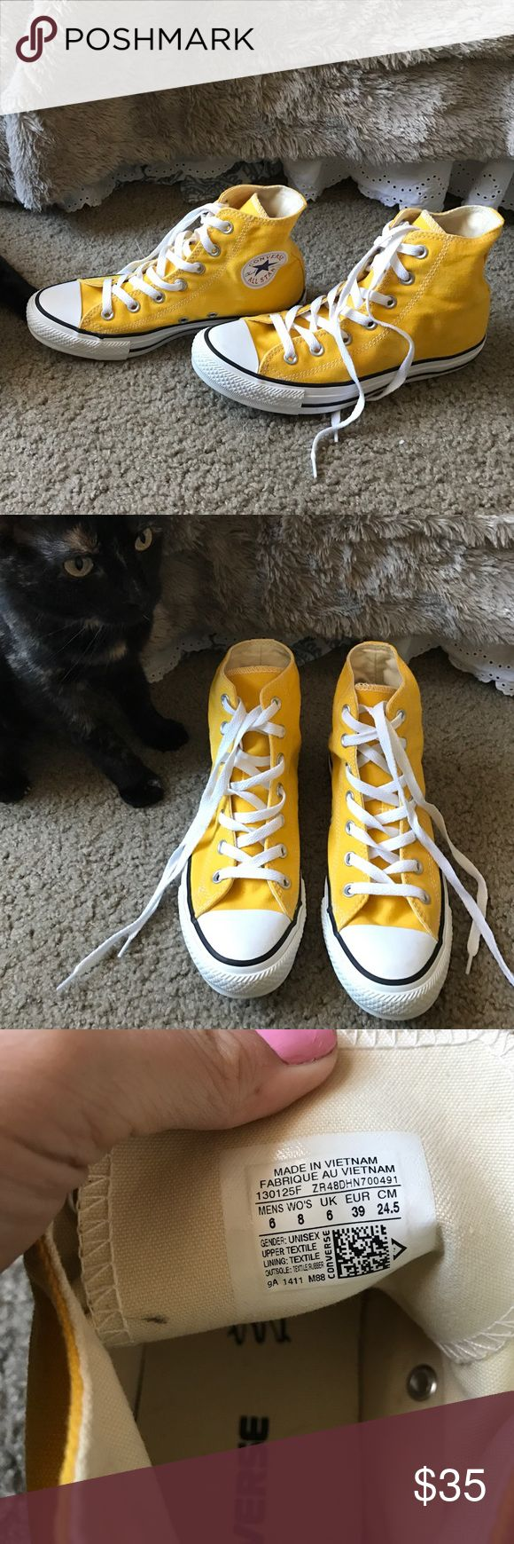 New Yellow/Gold High top Chuck Taylor Converse! Only worn once (if that... I can't remember) bright yellow Converse high tops! This brand runs a little big with sizing. I usually wear an 8.5 and these are an 8! They only make them in whole sizes. Converse Shoes Sneakers