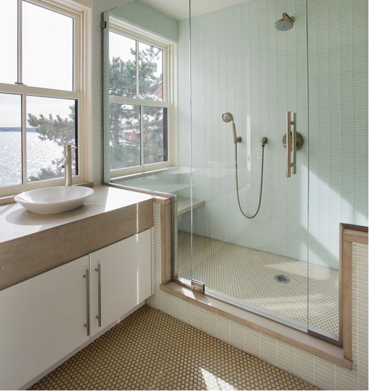 Sand colored mosaic floor matches vanity top soothing for Mosaic tile vanity top
