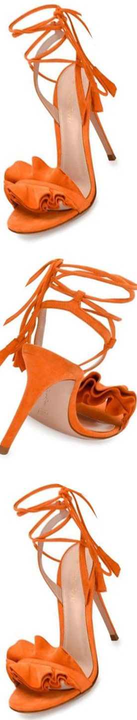 Gianvito Flora Ruffled Suede Lace-Up Sandal