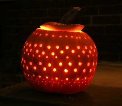 "Use a drill to drill holes in pumpkin... this is how I'm ""carving"" my pumpkin next year!"