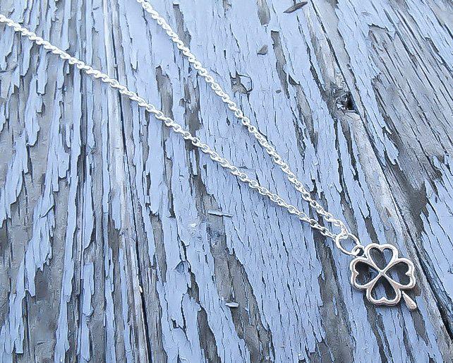 Shamrock Necklace - Clover Necklace - Four Leave Clover Necklace - Silver Clover Necklace - St Patricks day necklace - Shamrock pendant