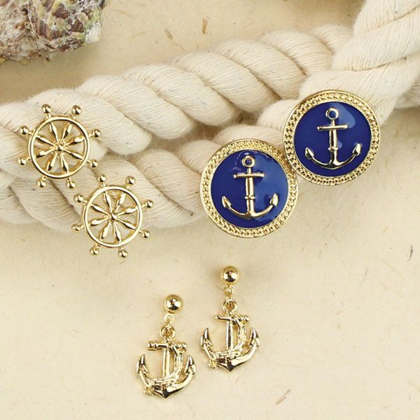 The Paper Store Periwinkle by Barlow Gold and Navy Nautical Earrings Trio. #TPSspringfashion