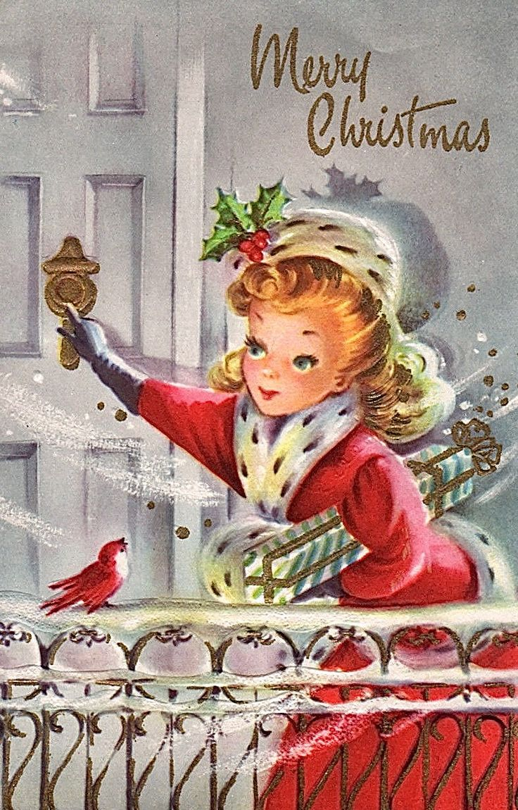 Vintage Christmas card with a caller bringing a wrapped gift.