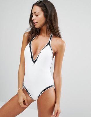 Seafolly Summer Vibe Deep Plunge White Swimsuit