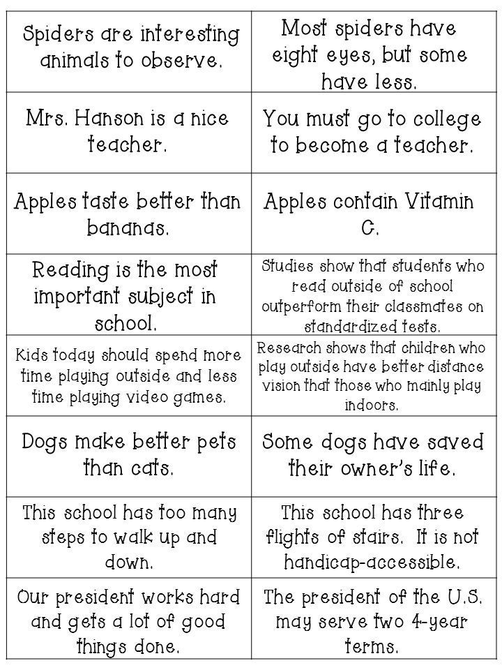 Fact and Opinion cards: these can be used as a sorting activity or as a class activity where you work together to create a classroom fact and opinion anchor chart!