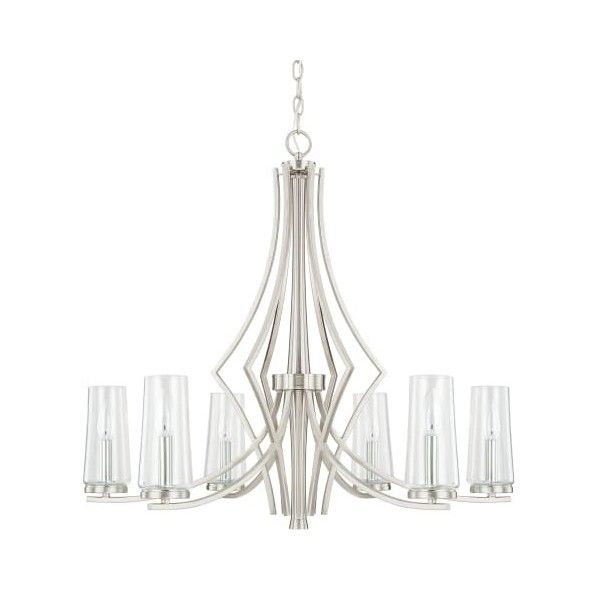 Capital Lighting 413561-326 Stella 6 Light 1 Tier Chandelier Brushed featuring polyvore, home, lighting, ceiling lights, brushed nickel, chandeliers, indoor lighting, outdoor ceiling lights, ceiling mounted lights, outdoor hanging lights, outdoor lighting and outdoor lamps