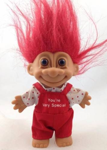 Valentine Russ Troll Doll Red Hair Youre Very Special Tiny Hearts Overalls Love