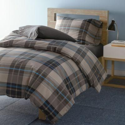 Plaid duvet cover set. Bainbridge Plaid bedding set printed with a classic plaid in cool, muted shades of gray, charcoal and blue. Twin and Twin XL bedding sets include one duvet cover and...