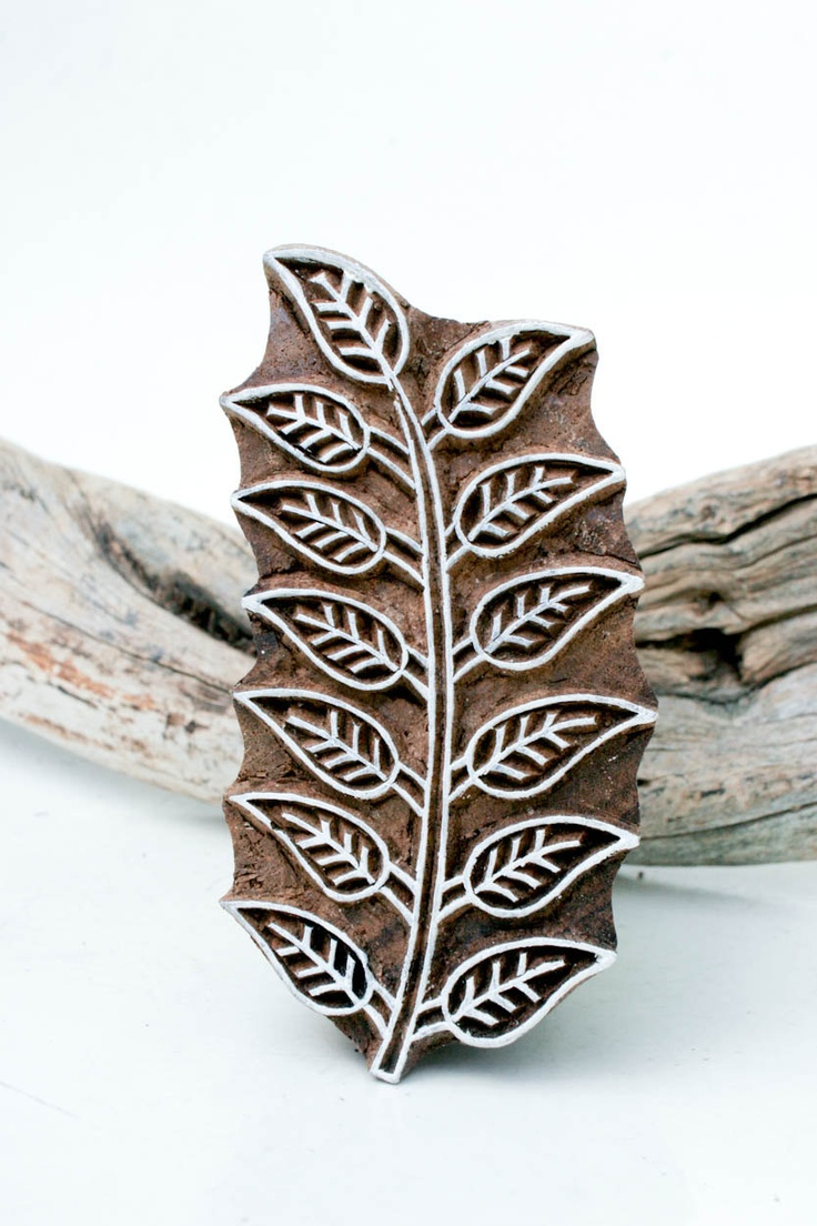 Indian Wood Stamp Leaf. One of several wood block designs for sale. Carved in India and used for stamping designs onto fabric.