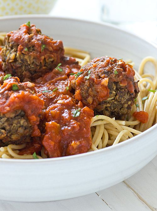 Lentil Meatballs (1/2 cup dried brown lentils, rinsed and picked over, 1 bay leaf, 1 cup water, 8 oz white mushrooms, 1 tbsp olive oil, 2 cloves garlic, minced, 2 tbsp red wine, 1/2 cup vegetable or mushroom broth, 1 tbsp soy sauce (or liquid aminos), 1/2 cup old-fashioned oats, 1 tsp Italian seasoning and salt and pepper to taste)