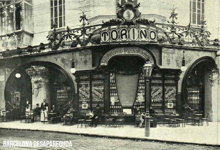 BARCELONA DESAPAREGUDA Cafe Torino (1902-1911). Passeig de Gracia/Gran Via de les Corts Catalanes donde actualmente está la Joyería Tous (ex Joyeria Roca).  Propiedad de turinès Flaminio Mezzalama, quien pretendía promocionar el vermut Martini & Rossi, fue inaugurado el 20 de septiembre de 1902 y el 1903 ganó el premio del Ayuntamiento de Barcelona. Lo habían decorado artistas como Ricard de Capmany i Roura y Antoni Gaudí que hizo el salón árabe.  Cerró alrededor de 1910-1911.