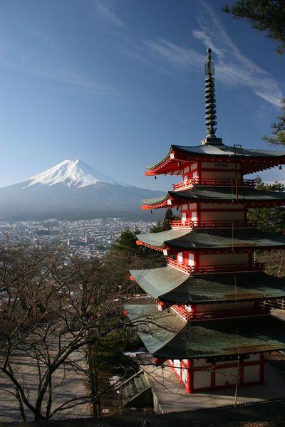 The pagoda of Chureito and Mount Fuji, Fujiyoshida, Yamanashi, Japan