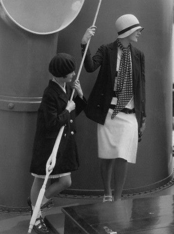 1928. Edward Steichen / June Cox and Lee Miller on board George Baker's yacht, Vogue