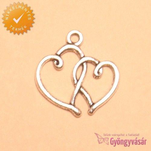 Ezüstszínű, dupla szív - nikkelmentes fém fityegő