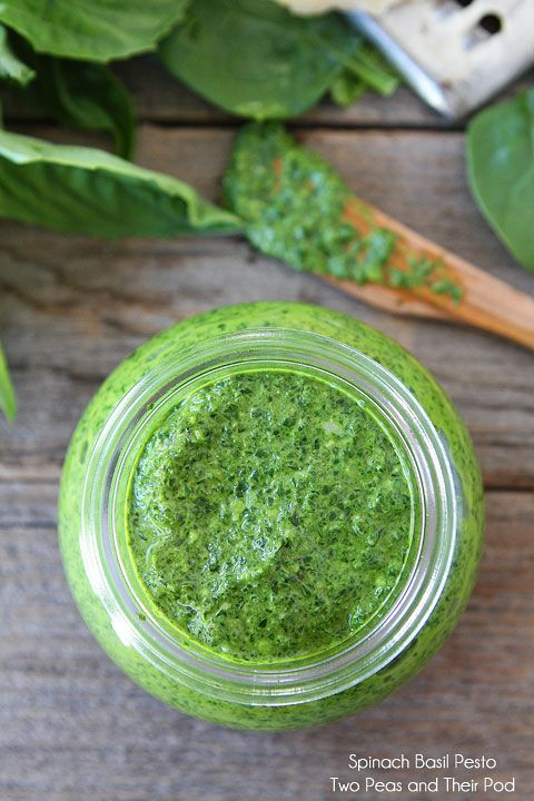 Spinach Basil Pesto Recipe on twopeasandtheirpod.com This nut-free pesto can be made in 5 minutes! #pesto #recipe