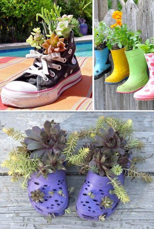 24 Creative Garden Container Ideas | Shoe planters!