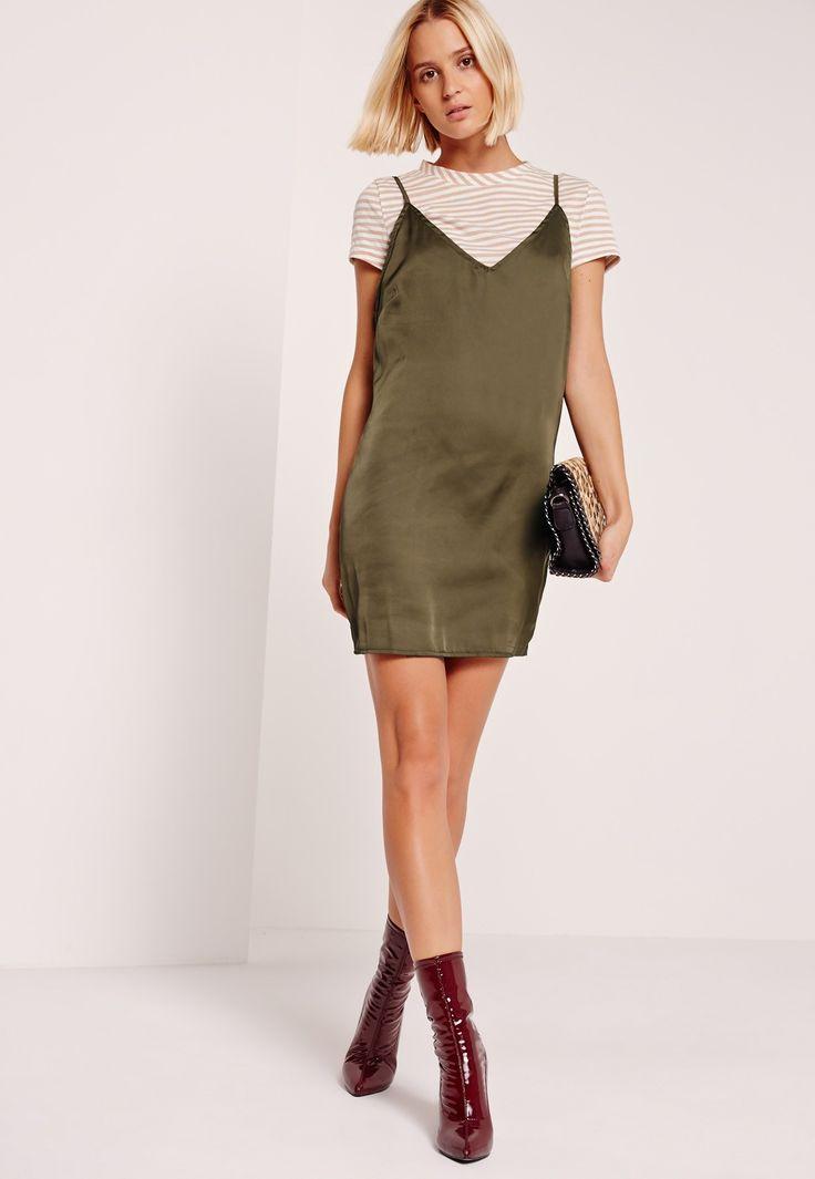 Missguided - Stripe Khaki 2 in 1 Dresses