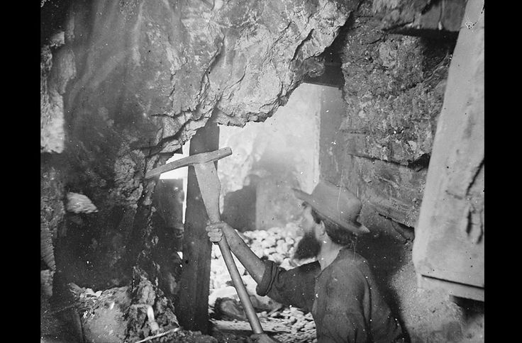 In 1867, O'Sullivan traveled to Virginia City, Nevada to document the activities at the Savage and the Gould and Curry mines on the Comstock Lode, the richest silver deposit in America. Working nine hundred feet underground, lit by an improvised flash -- a burning magnesium wire, O'Sullivan photographed the miners in tunnels, shafts, and lifts. (Timothy O'Sullivan/NARA)