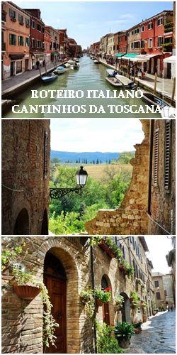 A Itália e nossas andanças, entre Veneza e Roma. Roteiro misto, parte de trem e a outra de carro, passando pelos campos e cidades muradas da Toscana.