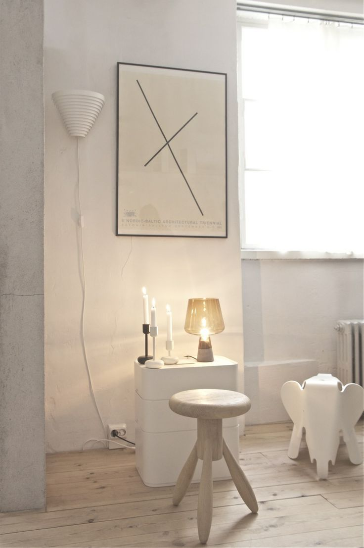 A personal favourite combination - white and wood. We love the cheeky Eames Elephant too http://www.nest.co.uk/search/vitra-eames-elephant