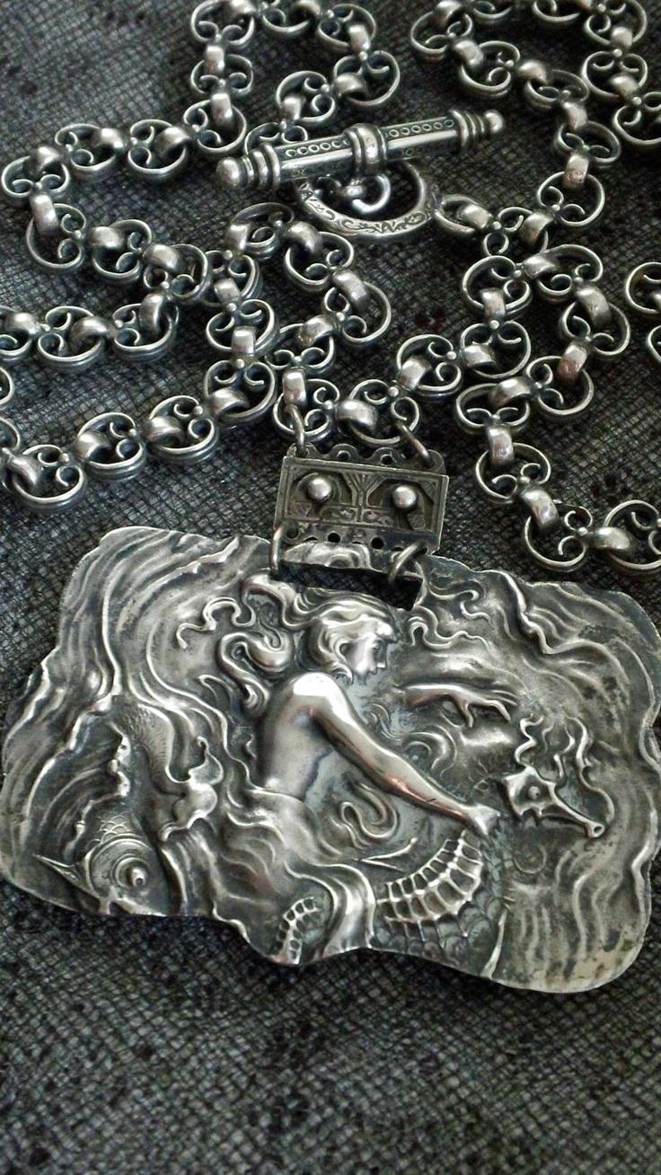 Unger Bros. Mermaid Riding Seahorse Sterling Art Nouveau Necklace
