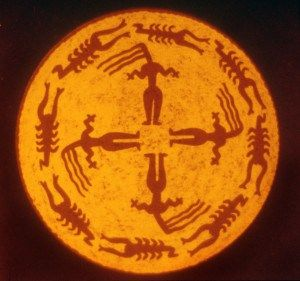 A classic from Samarra, Iraq, circa 5000 bce. This neolithic town created a long line of splendid painted ceramics and female figurines (which start back in the pre-pottery era, so old is the tradition there). Here women stand in the quadrants, their hair whirling in the Four Winds, circled by a ring of scorpions. Scorpion Goddess is common in ancient Iraq and Iran as well as Egypt — Serqet, the companion of Auset (Isis)