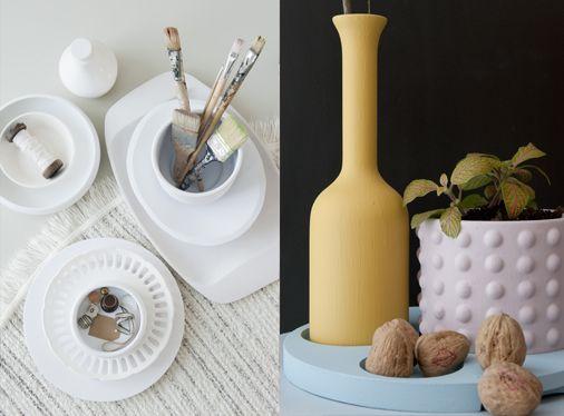 Warm witte combinaties, spannend door verschillende texturen, óf gedurfde kleuren, spannend door grote contrasten.