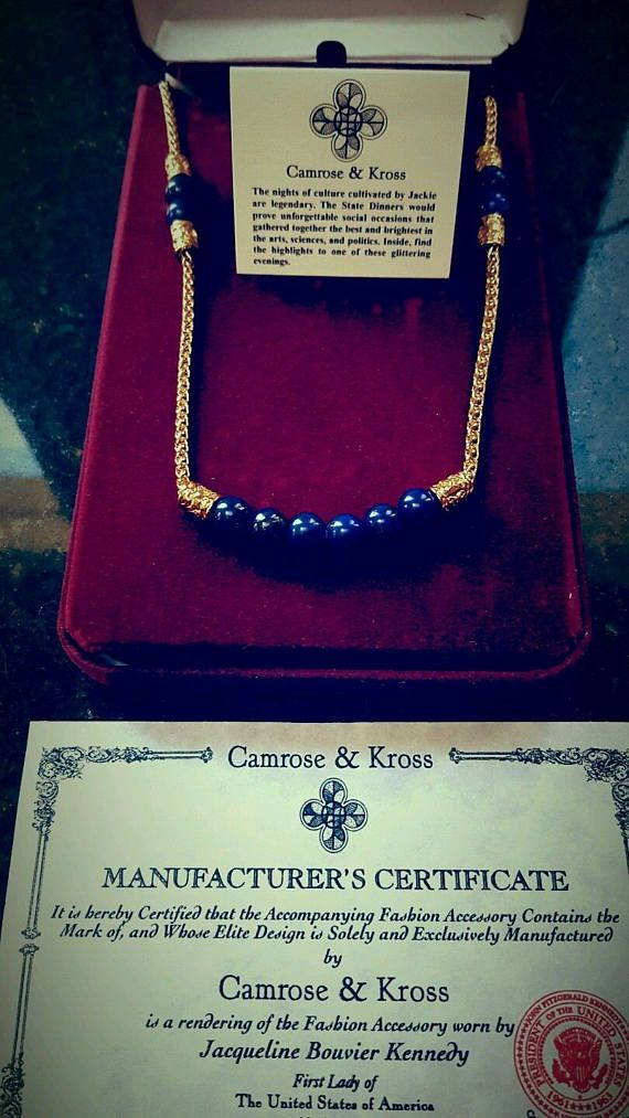 Jackie Kennedy GP Necklace  24K with Simulated Lapis Beads