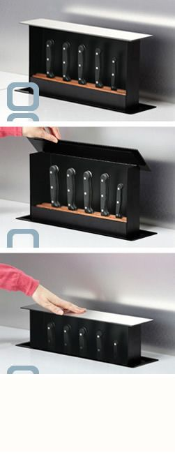 The S-BOX in action.  it's a knife box that you build into the counter! I want one in every room