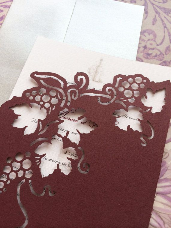 Wedding Invitation - lasercut Vineyard and grapes - Romantic pocket sleeves with inserts