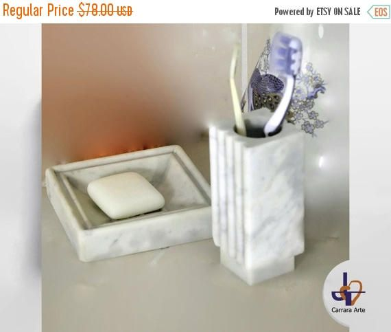 Sets Bernini In White Carrara Marble Modern Toothbrush Holder Soap Dish From Refined Design The Is A Product Of Nature