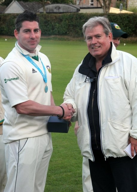 Morne Bauer receives his Man of the Match Award following his blistering innings of 123 against Galway Cricket Club #CCCC