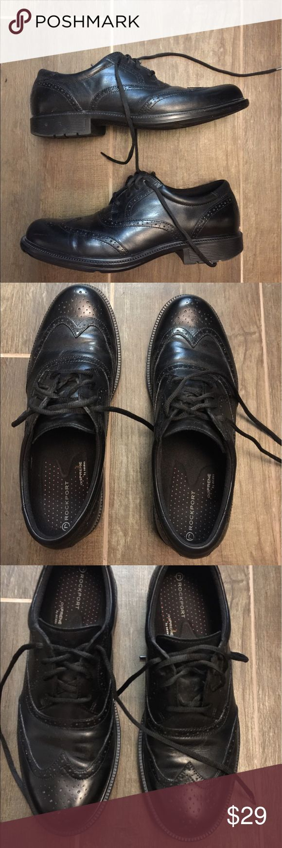 Rockport black oxfords size 9 Rockport black oxfords size 9. This is a great pair of black oxfords. They tie up and are in great shape. Please view all pictures. Rockport Shoes Oxfords & Derbys