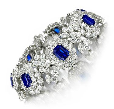 FD Gallery   A Burmese and Kashmir Sapphire and Diamond Bracelet, by Van Cleef & Arpels, circa 1950