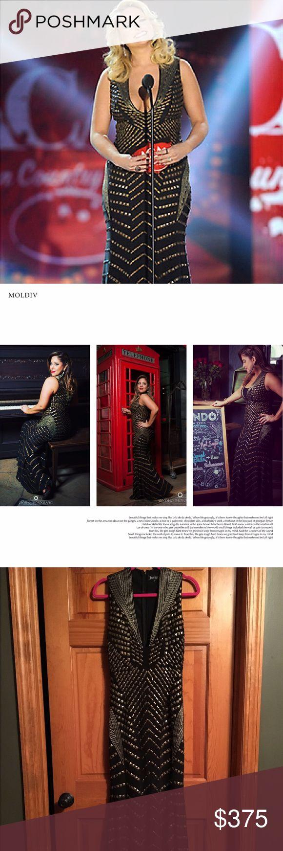 Jovani Gold and Black studded dress Long gold and black studded dress worn once. Jovani Dresses Prom