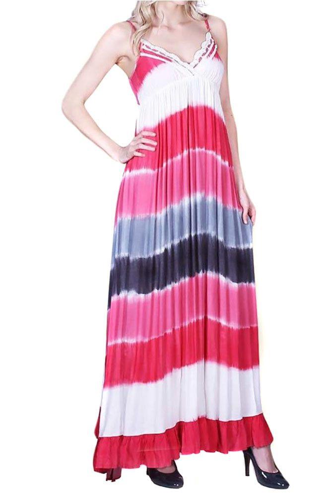Spaghetti Strap V-Neck Ruched Tie Dye Maxi Dress