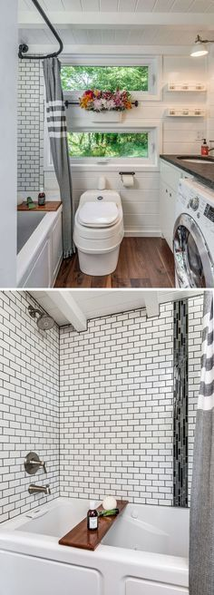 The Alpha tiny house bathroom includes a full size tub/shower combo with subway tile, a composting toilet, and a washer/dryer combo.
