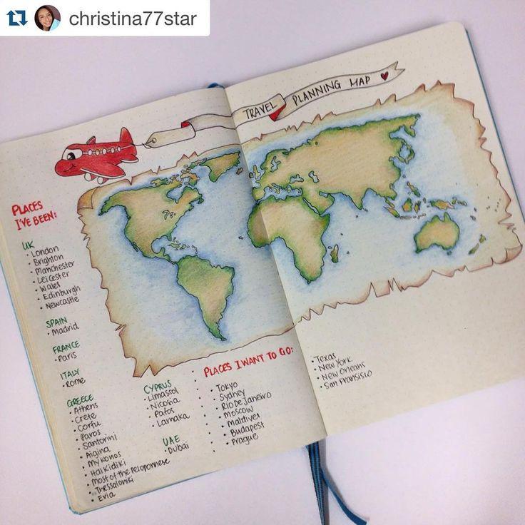 Inspiração para quem ama viajar, com lista de lugares já visitados, lugares a…