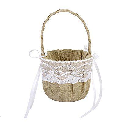 Rustic Burlap Wedding Flower Girl Basket White Lace Bow