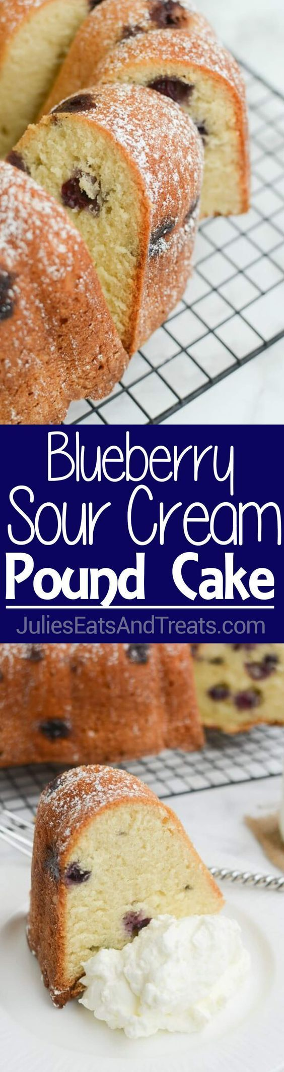 Blueberry Sour Cream Pound Cake Recipe ~ This Easy Dessert Is Perfectly Moist and Soft! Stuffed with Juicy Blueberries and Dusted with Powdered Sugar! ~ www.julieseatsand...